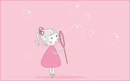 Blowing soap bubbles. Vector illustration of little girl blowing soap bubbles Royalty Free Stock Photos