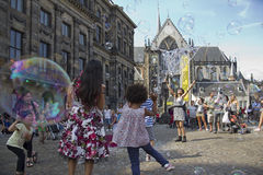 Blowing soap bubbles in Amsterdam Stock Photography