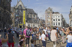 Blowing soap bubbles in Amsterdam Stock Image