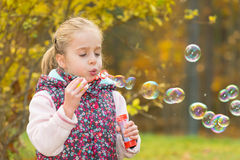 Blowing soap bubbles Royalty Free Stock Photography
