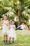 Blowing soap bubbles at the picnic. Mixed-race sisters blowing soap bubbles, their parents resting in the background Stock Images