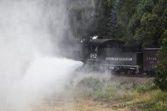 Blowing Steam, Durango and Silverton Narrow Gauge Railroad Steam Engine train, Durango, Colorado, USA Stock Photos