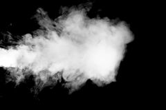 Blowing steam with white smoke isolated. On black background Stock Photos