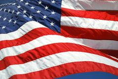 Blowing strong. An american flag blowing strong Royalty Free Stock Image