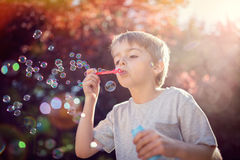 Blowing summer soap bubbles stock photography