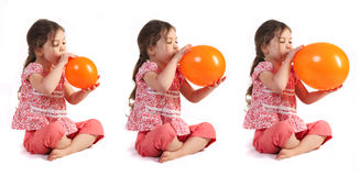 Blowing up A Balloon stock images
