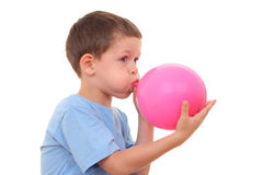 Blowing up balloon Stock Photography