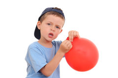 Blowing up balloon Stock Image