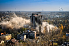 Blowing up the building for demolition Stock Images