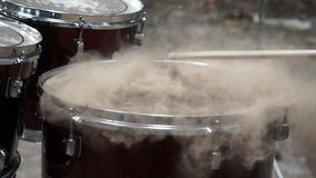 Blowing up sand on drum stock video