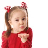 Blowing Valentine kisses stock photos