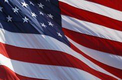 Blowing in the Wind. Closeup of American flag blowing in the wind Stock Photography