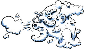 Blowing wind. The cartoon wind blows Royalty Free Stock Images