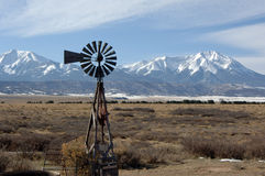 Blowing in the Wind. Old windmill at the foot hills of the Rockie Mountains Colorado stock images