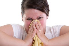 Blowing your nose too hard and bleeding Stock Photos