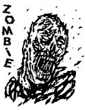 Blown away by the wind dead man zombie. Vector illustration. Black and white colors. Genre of horror Stock Photo