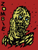 Blown away by the wind zombie monster. Vector illustration. Genre of horror. States of mind. Red background Stock Photos