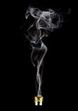 Blown fuse with feminine smoke  on black background Stock Image