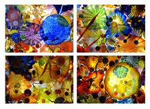 Blown Glass Array Collage. A collage of backlit blown glass objects royalty free stock images