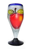 Blown glass cup with an hand painted apple Stock Photo