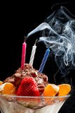 Blown off candle on birthday ice cream Stock Photography