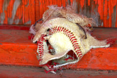 Blown out baseball skin. Battered torn up baseball against red wood gain of an old dugout Royalty Free Stock Image