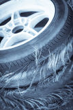 Blown out tires. Close up shot of a pile of blown out tires royalty free stock photo