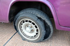 Blown out tyre. A tyre which has exploded Royalty Free Stock Photo