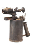 Blowtorch. Vintage old blowtorch isolated on white background Stock Photo