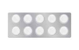 Blåsa med preventivpillerar, minnestavlor Arkivfoto