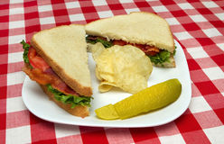 Bacon Lettuce And Tomato Sandwich With Potato Chips Stock Photos ...
