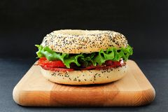 BLT bagel sandwich with low fat turkey bacon Stock Photography
