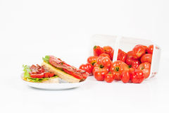 BLT with Basket of Tomatoes Royalty Free Stock Photography