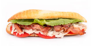 BLT chicken sub sandwich Royalty Free Stock Photos