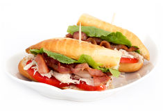 BLT chicken sub sandwich Royalty Free Stock Images