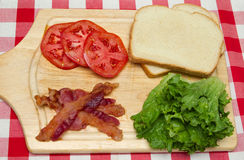 Blt ingredients on a cutting board Royalty Free Stock Photo