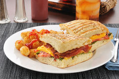 BLT Panini on Focacia Bread Stock Photos