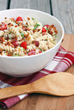 BLT Pasta Salad. Pasta salad with bacon, lettuce and tomato stock photos