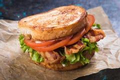 Bacon lettuce and tomato sandwich. BLT sandwich with fried bacon, lettuce and tomato in slices of bread Stock Image