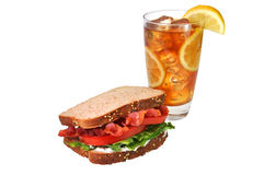 BLT Sandwich, Iced Tea, Isolated, Clipping Path Royalty Free Stock Images