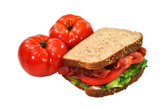 BLT Sandwich, Tomatoes, Isolated, Clipping Path Royalty Free Stock Photography