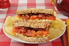 BLT sandwich on whole grain bread Stock Photos
