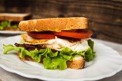Blt sendwich με το αυγό Στοκ εικόνα με δικαίωμα ελεύθερης χρήσης