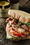 BLT-smörgås med höna och avokadot Royaltyfri Fotografi