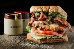 BLT-smörgås med stekt kyckling och avokadot Royaltyfri Foto
