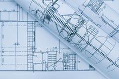 Blått arkitektoniskt plan Arkivbild