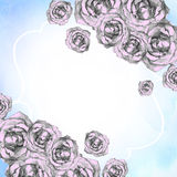 Blått feriekort med hörn av utdragna rosa rosor Royaltyfri Bild
