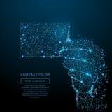 Blått för hållande kort för man låga poly Arkivbilder