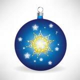 blått juljordklot Arkivfoto