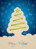 Blått julkort med trädskosnöret Royaltyfri Fotografi